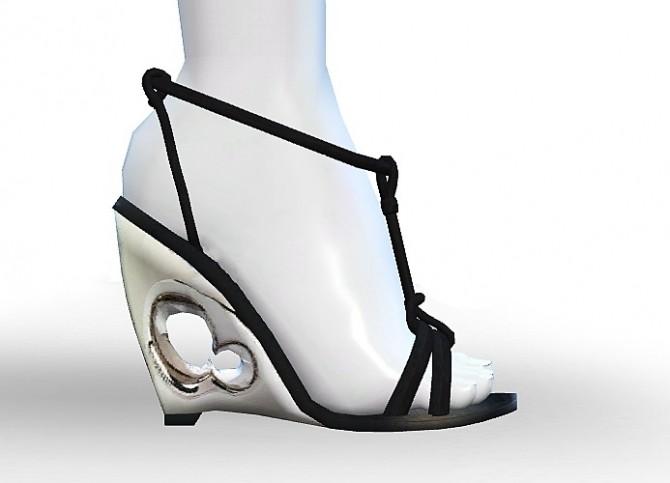 Sims 4 Sculpted Wedge Sandals by MrAntonieddu at MA$ims4