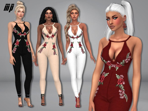 Sims 4 MP Floral Printed Jumpsuit by MartyP at TSR