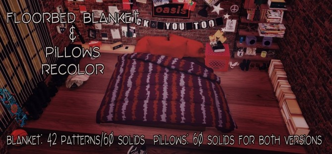Sims 4 Floorbed Blanket & Pillows Recolor by Sympxls at SimsWorkshop