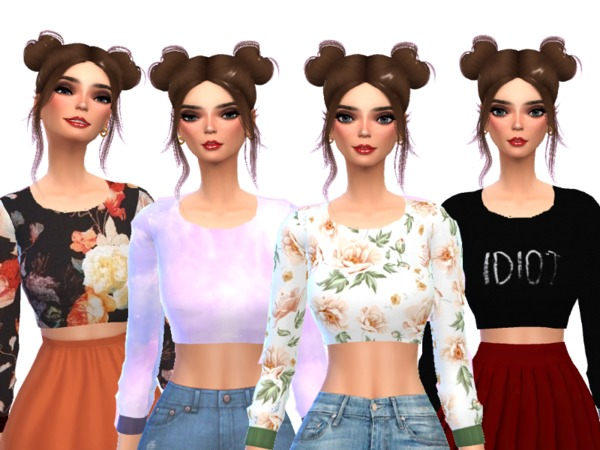 Sims 4 Tumblr Themed Crop Tops by Wicked Kittie at TSR