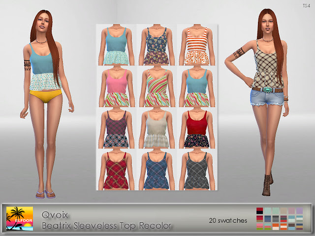 Sims 4 Qvoix Beatrix Sleeveless Top Recolor at Elfdor Sims