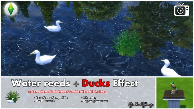 Sims 4 Water reeds + Ducks effect by Bakie at Mod The Sims