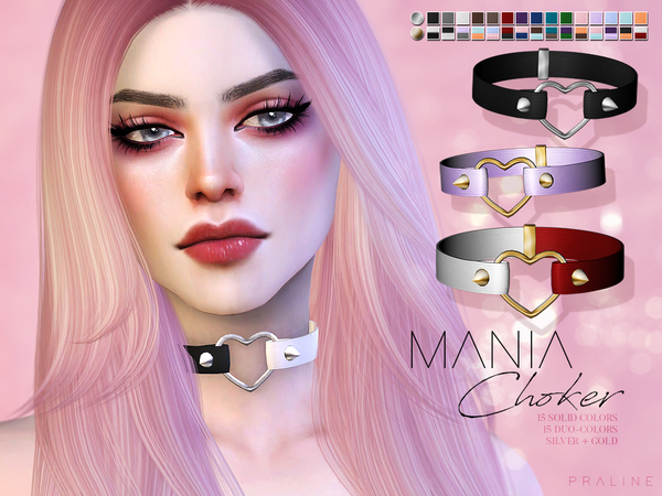 Sims 4 Mania Choker by Pralinesims at TSR