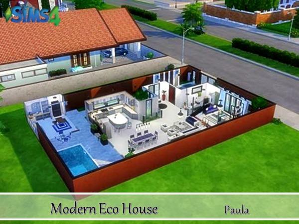 Sims 4 Modern Eco House by PaulaBATS at TSR