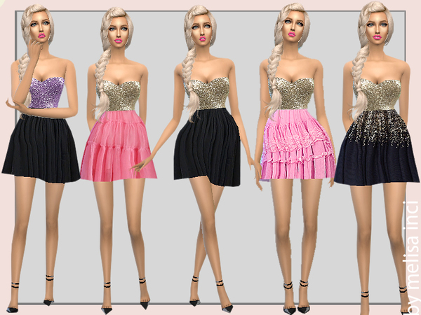 Sims 4 Strapless Sequin Dress by melisa inci at TSR