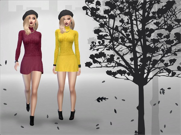 Sims 4 Welcome Autumn Dress by Devirose at TSR