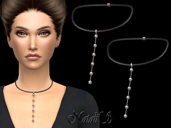 Leather and Pearls necklace by NataliS at TSR image 750 Sims 4 Updates