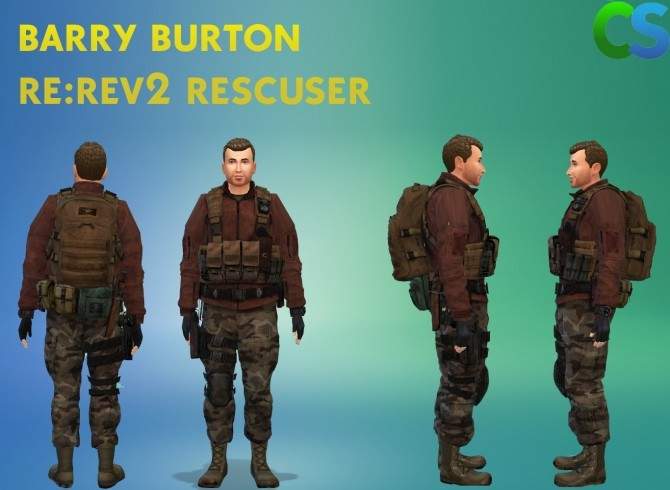 Sims 4 Resident evil Rev2 Barry Burton Rescuer Clothes by cepzid at SimsWorkshop