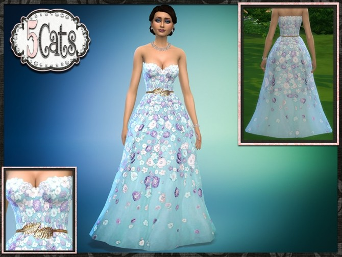Spring Floral Strapless Ball Gown At 5cats Sims 4 Updates