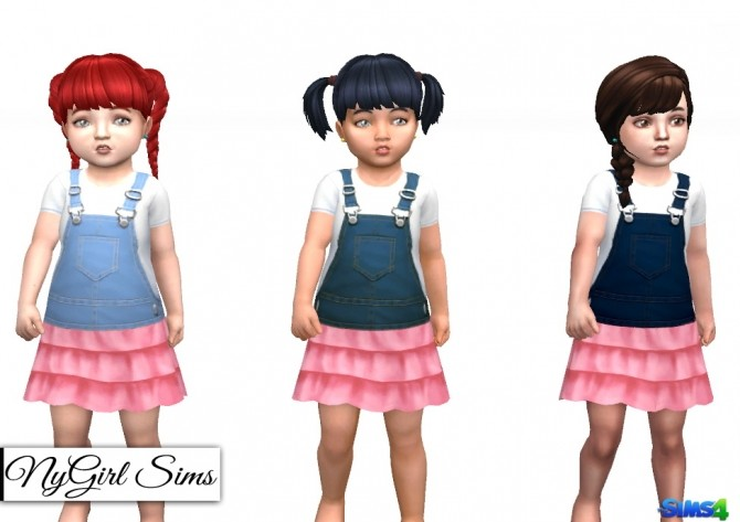 Sims 4 Denim Overall Dress with Skirt at NyGirl Sims