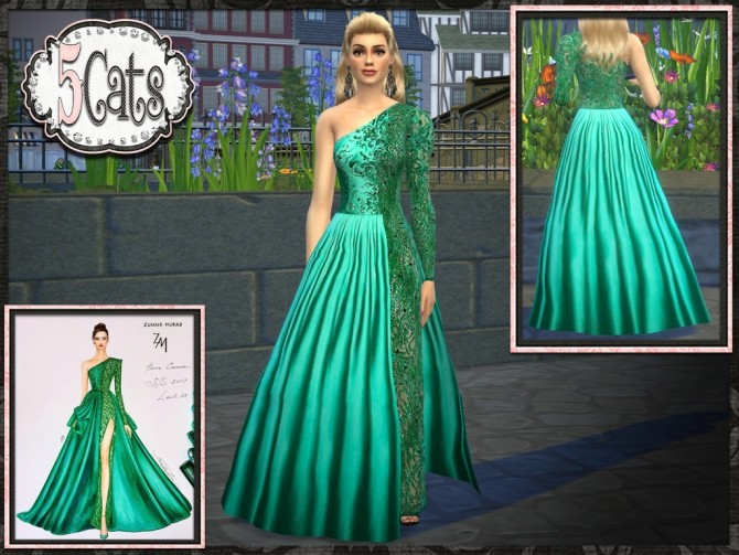 Sims 4 Designer ZM Lace Panel Satin Gown at 5Cats