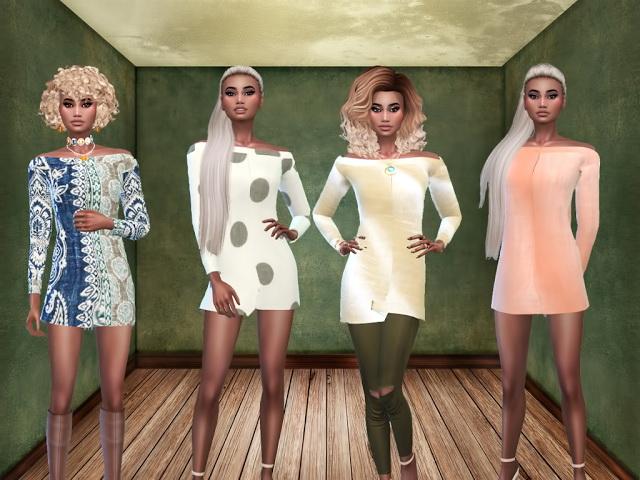 Sims 4 Cream Dress Ellie at Teenageeaglerunner