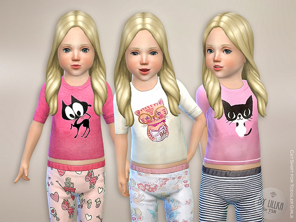 Sims 4 Cat Shirt for Toddler Girls by lillka at TSR
