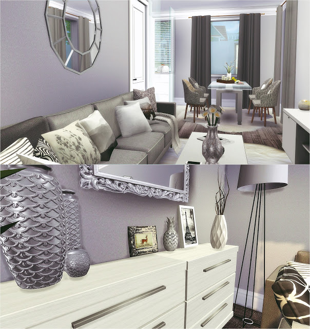 Silver Livingroom and Kitchen at Liney Sims image 9813 Sims 4 Updates