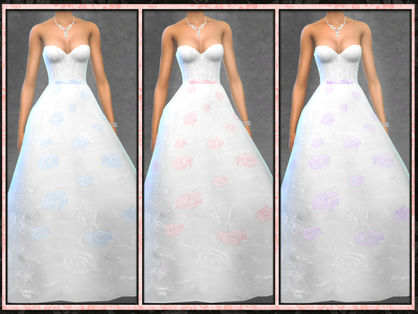 Strapless Rose Wedding Gown by Five5Cats at TSR image 10015 Sims 4 Updates