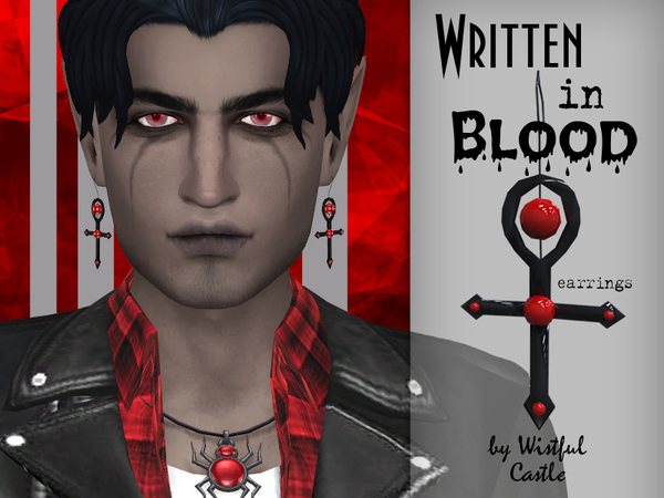 Written in Blood Earrings Set by WistfulCastle at TSR image 10119 Sims 4 Updates