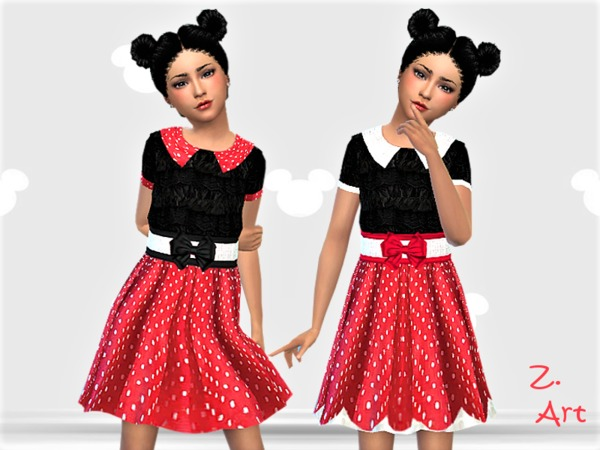 Sims 4 GirlZ 12 funny dress with polka dots by Zuckerschnute20 at TSR