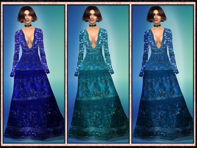 Sims 4 ZM Bell Sleeve Lace Deep V Cut Gown at 5Cats