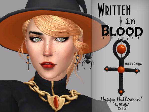 Sims 4 Written in Blood Earrings Set by WistfulCastle at TSR