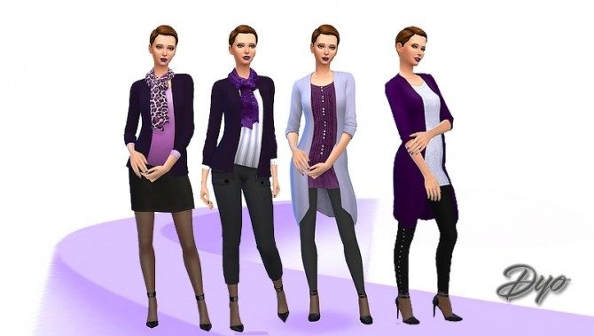 Sims 4 Purple fashion 2 by Dyokabb at Les Sims4