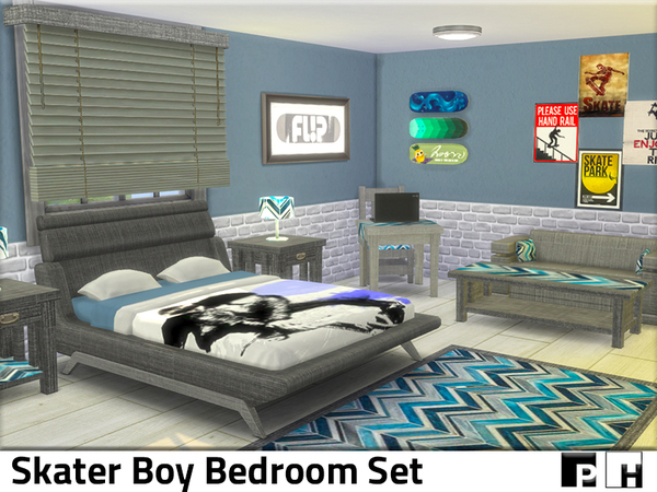 Skater Boy Bedroom by Pinkfizzzzz at TSR image 1107 Sims 4 Updates