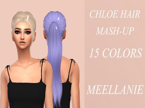 Sims 4 CHLOE HAIR MASH UP at Meellanie