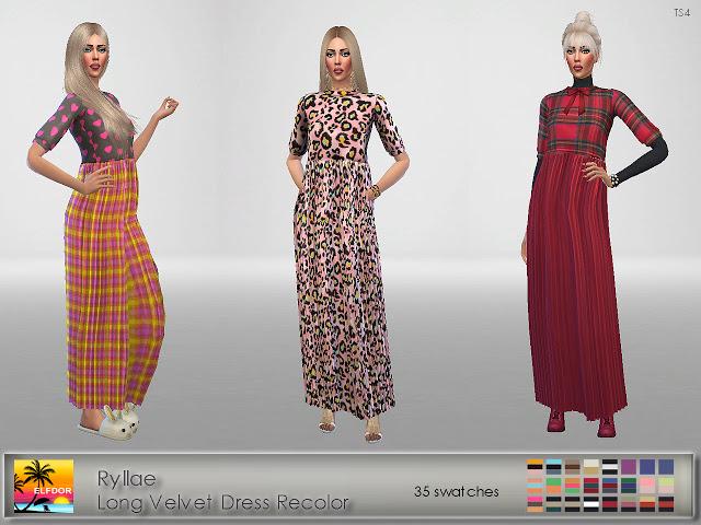 Sims 4 Ryllae Long Velvet Dress Recolor at Elfdor Sims