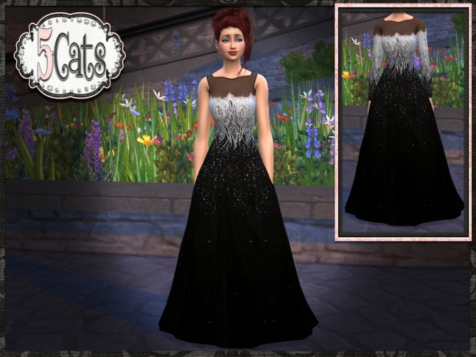 Black Silver Tulle Gown at 5Cats image 1144 670x503 Sims 4 Updates