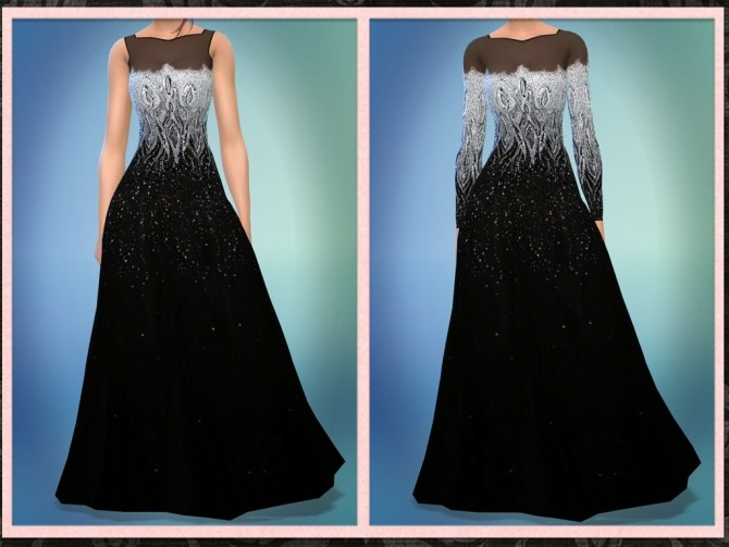 Sims 4 Black Silver Tulle Gown at 5Cats