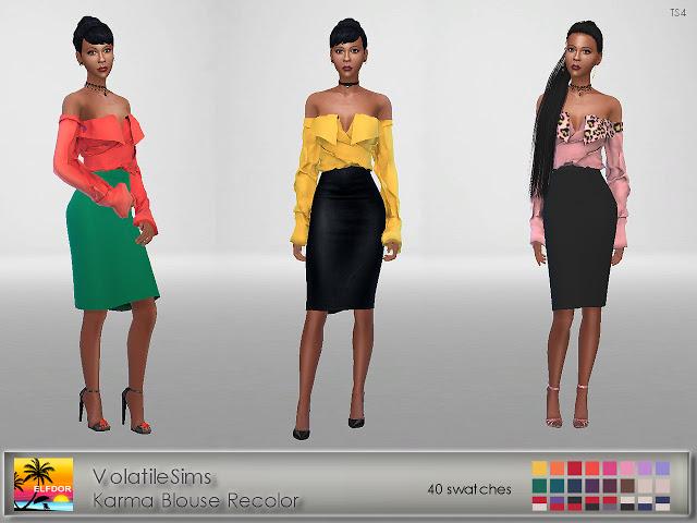 Volatile Karma Blouse Recolor at Elfdor Sims image 126 Sims 4 Updates