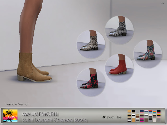Sims 4 MAUVEMORN Chelsea Boots Recolor Female version at Elfdor Sims
