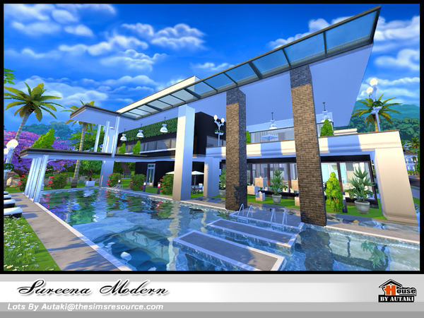 Sims 4 Sureena Modern house by autaki at TSR