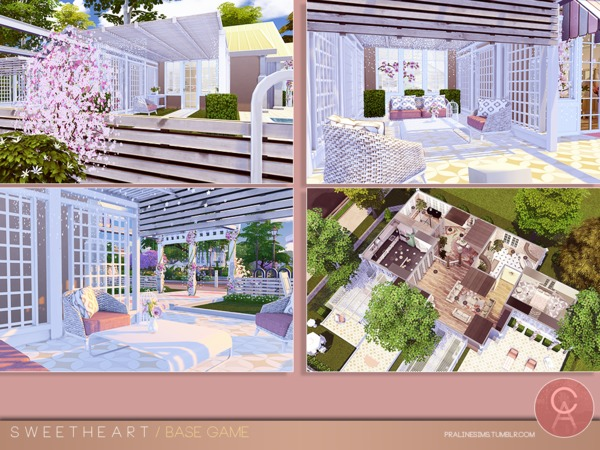 Sims 4 Sweetheart house by Pralinesims at TSR
