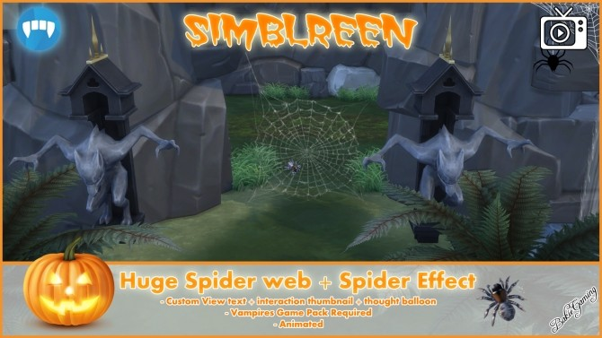 Sims 4 Simblreen Huge Spider web + Spider by Bakie at Mod The Sims
