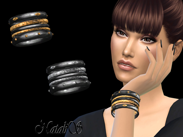 Onyx and Metal Bracelets by NataliS at TSR image 1425 Sims 4 Updates