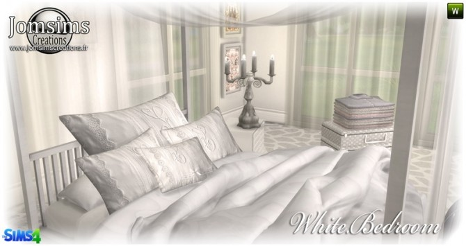 Sims 4 White bedroom at Jomsims Creations