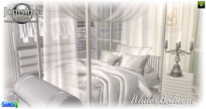 White bedroom at Jomsims Creations image 147 670x355 Sims 4 Updates