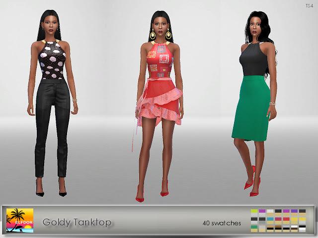 Goldy Tanktop at Elfdor Sims image 1481 Sims 4 Updates