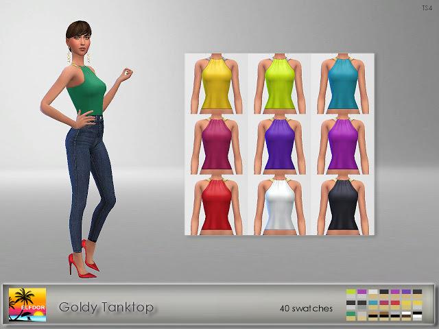 Goldy Tanktop at Elfdor Sims image 1491 Sims 4 Updates