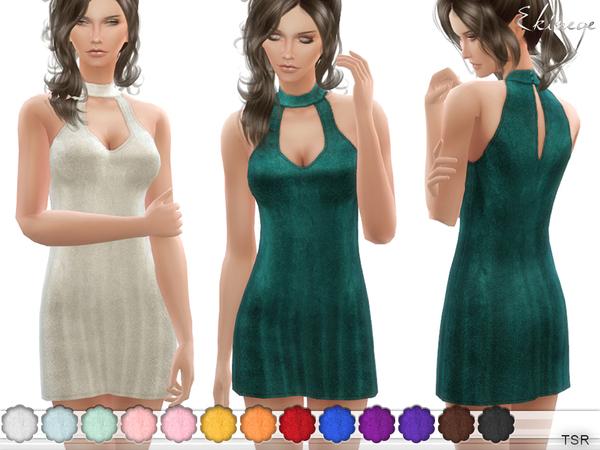 Keyhole Velvet Mini Dress by ekinege at TSR image 1518 Sims 4 Updates
