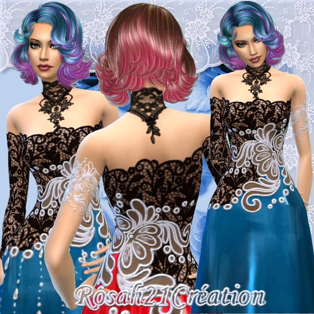 Sims 4 Lace dress by Rosah at Sims Dentelle