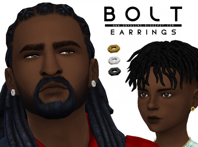 Bolt Earrings At Onyx Sims 187 Sims 4 Updates