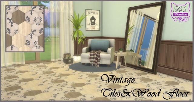 Sims 4 Carreaux&Bois Vintage Tiles and Wood floor by Sophie Stiquet at Les Sims4