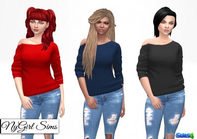 Sims 4 Off Shoulder Long Tee at NyGirl Sims