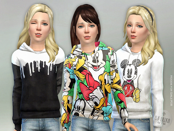 Sims 4 Hoodie for Girls P08 by lillka at TSR