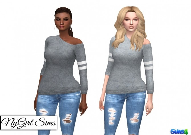 Off Shoulder Wool Sweater with Arm Stripe at NyGirl Sims image 1622 670x473 Sims 4 Updates