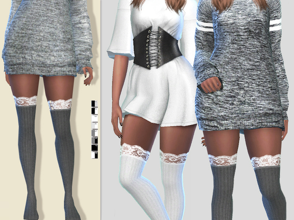 Sims 4 Winter Tights by Pinkzombiecupcakes at TSR