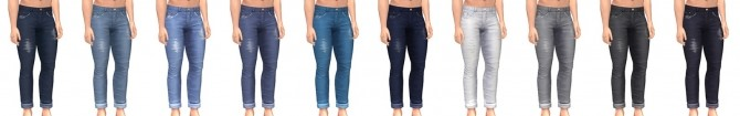 Sims 4 Slim and Cuffed Set of Jeans for guys at Simsational Designs