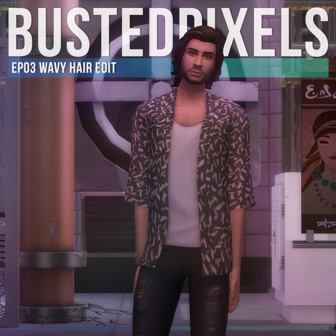 EP03 Wavy Male Hair Edit at Busted Pixels image 1743 670x670 Sims 4 Updates