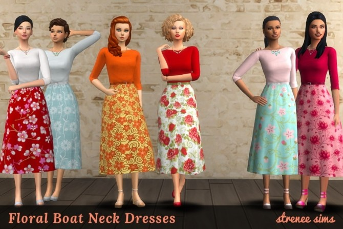 20 Floral & Striped Boat Neck Dresses at Strenee Sims image 1807 670x447 Sims 4 Updates